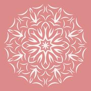 Stock Illustration of Round white flower pattern on pink background