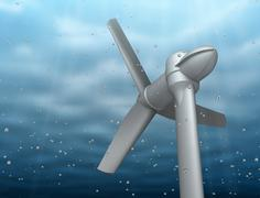 Underwater turbine tap river energy Stock Illustration