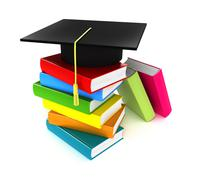 Colorful books and graduation cap, Isolate on white - stock illustration