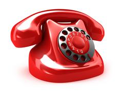 Red retro telephone, isolated on white. My own design Stock Illustration