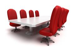 Conference table and red chairs , isolated Stock Illustration