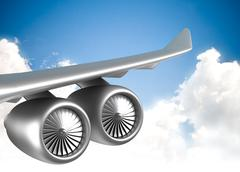 Wing of jet airplane - stock illustration