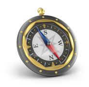 Compass. Old style. Isolated on white - stock illustration