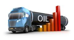 Oil price and truck concept - stock illustration