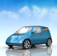 Future city car concept on blue background. My own design - stock illustration