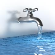 Chrome tap with a water stream Stock Illustration