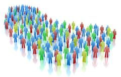 Colorful people crowd concept isolated on white - stock illustration
