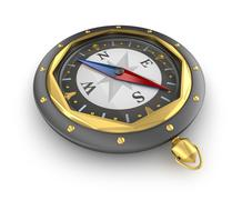 Compass. Old style. Over white - stock illustration