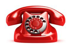 Red retro telephone, front view. Isolated. My own design - stock illustration
