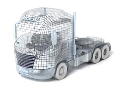 Mesh truck isolated on white. My own design Stock Illustration
