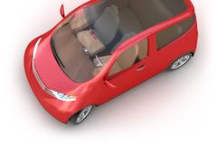 Red concept car 3d isolated on white. My own design Stock Illustration