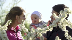Happy family walking in Park in spring Stock Footage