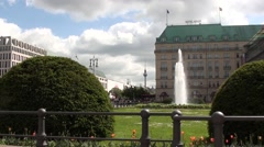 Fountain On Pariser Platz Berlin Germany Stock Footage