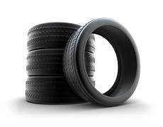 Tires over white Stock Illustration