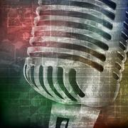 Abstract grunge background with microphone Stock Illustration
