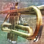 abstract grunge background with trumpet - stock illustration