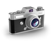 Retro photo camera over white. My own design. Stock Illustration