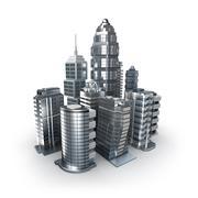 Skyscrapers city icon over white Stock Illustration