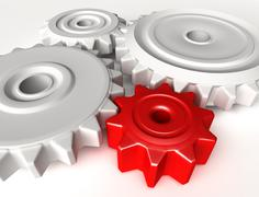 Abstract 3D concept of gear wheels - stock illustration
