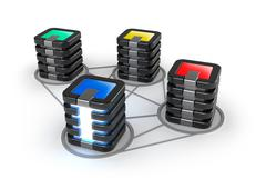 Connected servers farm, 3D icon over white - stock illustration