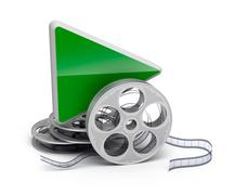 Play button and movie reel. isolatd 3D icon - stock illustration