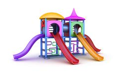 Colorful playground for childrens. Isolated on white Stock Illustration