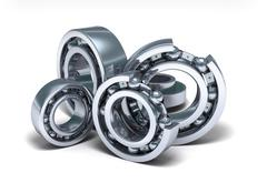 Detailed bearings production over white - stock illustration