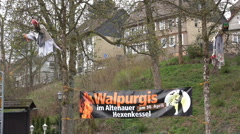Walpurgis promotion with hanging witches Altenau Harz Stock Footage
