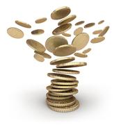 Coins Tornado . Isolated on white. - stock illustration