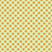 Seamless the orange sun pattern for green background. Vector Stock Illustration