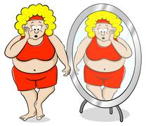 overweight woman is shocked in front of a mirror - stock illustration