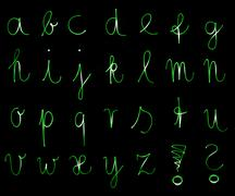 Flourescent letters of the alphabet Stock Illustration