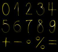 Flourescent numbers and math symbols in yellow neon color Stock Illustration
