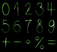 Different flourescent numbers and math symbols in green neon color Stock Illustration
