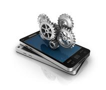 Mobile phone and gears. Application development concept. Stock Illustration