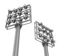 Set of spotlights on metal frames. View from bottom. Stock Illustration