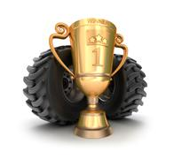 4x4 golden trophy cup with tires. - stock illustration