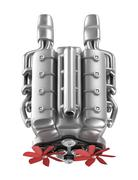 V8 engine over white. My own design. Top view Stock Illustration