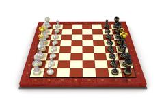 Chess pieces board. All pieces in starting position - stock illustration