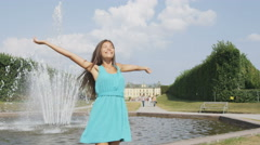 Woman in Stockholm Drottningholm palace, Sweden Stock Footage