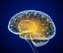 Brain impulses. Thinking prosess - stock illustration