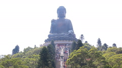 The Tian Tan Famous Big Buddha Statue Of Hong Kong - stock footage