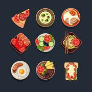 Set of Traditional Food Icons Stock Illustration