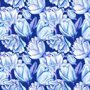 Blue Watercolor Tulip Pattern Stock Illustration