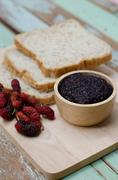 breakfast : home made bread with mulberry jam - stock photo