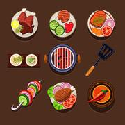 BBQ Grill Icon - stock illustration