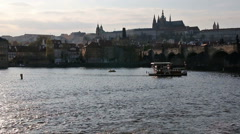 City castle and river during sunset Prague - stock footage