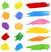 set of color brushstrokes on white - stock illustration