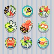 Infographic Elements Food Business Seafood Stock Illustration