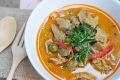 savory curry with pork (Thai food name Panang) - stock photo